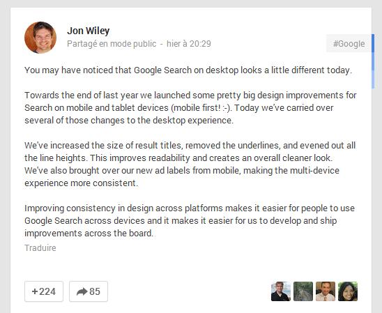 Mise à jour du design des résultats de recherche de Google
