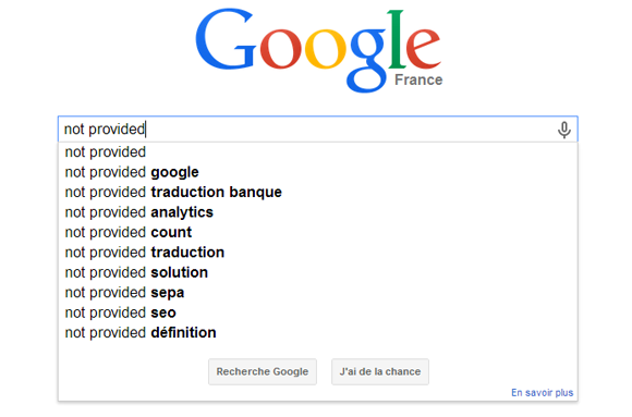 Le Not Provided dans Google