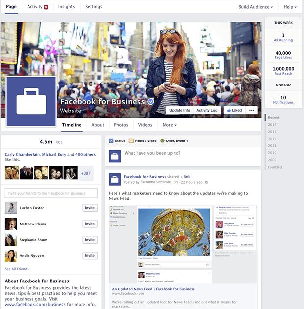 Nouveau design des pages Facebook