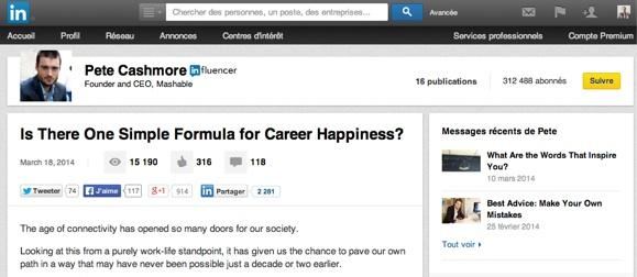 Pete Cashmore: compte auteur dans LinkedIn Pulse