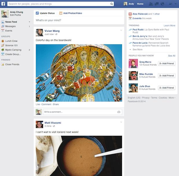 Des images plus grandes dans le nouveau fil d'actualités de Facebook