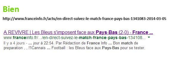 URL de France Info dans les résultats de recherche de Google.fr