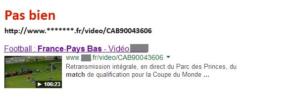 URL (2) dans les résultats de recherche de Google.fr
