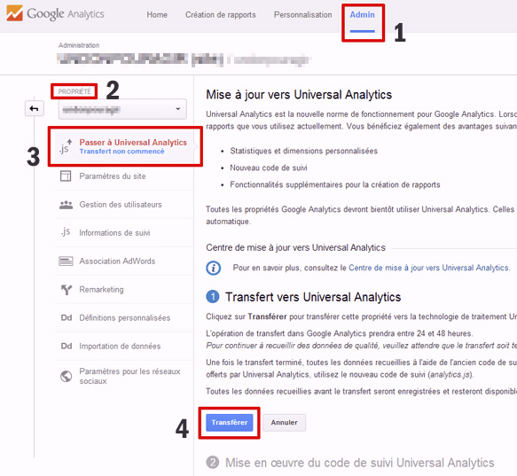 Activer Universal Analytics dans Google Analytics