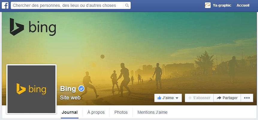 Coupe du Monde célébrée dans la page Facebook de Bing