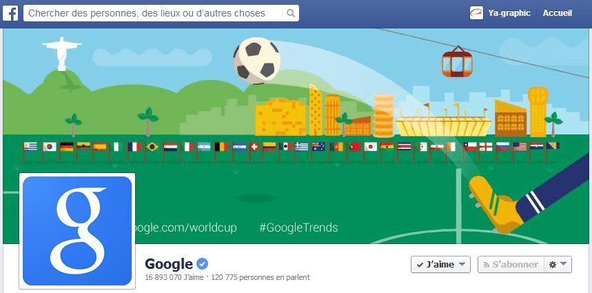 Page Facebook de Google pour célébrer la Coupe du Monde de foot 2014