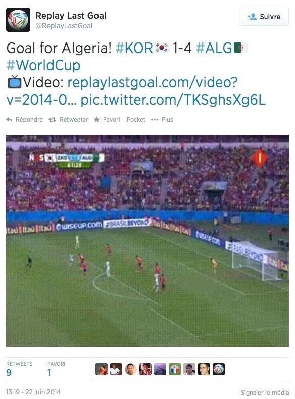 Compte Twitter @ReplayLastGoal : but de l'Algerie contre la Corée du Sud