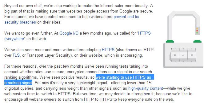 HTTPS comme facteur de ranking dans Google Search