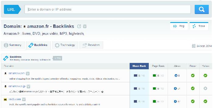 Trouver des backlinks avec MoonSearch (outil payant)