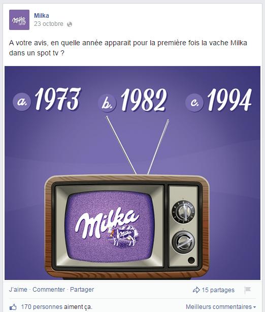 Quizz de Milka dans sa page Facebook