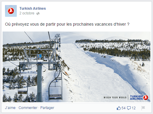 Question contextuelle de Turkish-Airlines dans sa page Facebook