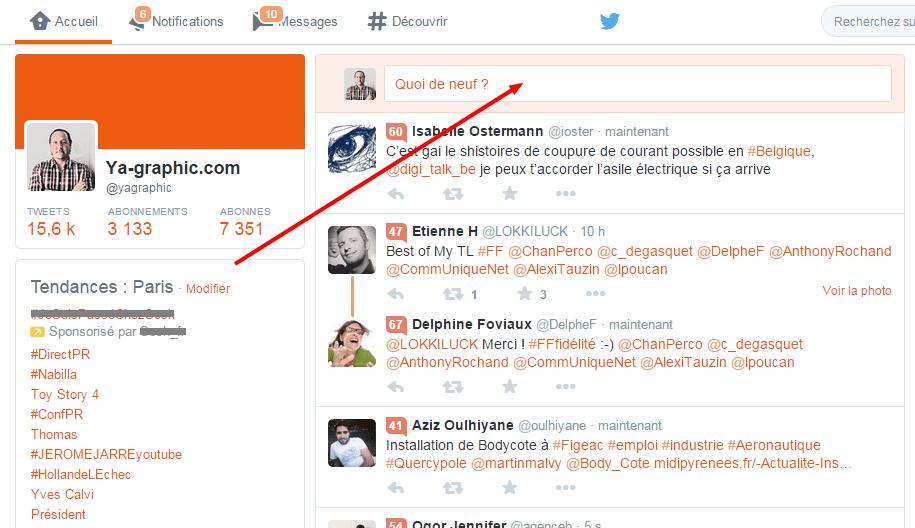La tweet box de Twitter déplacée (comme dans Facebook)