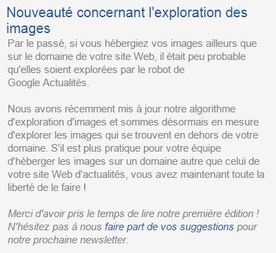 Newsletter de Google Actualités.