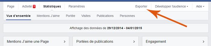 Télécharger les statistiques de la page Facebook au format Excel