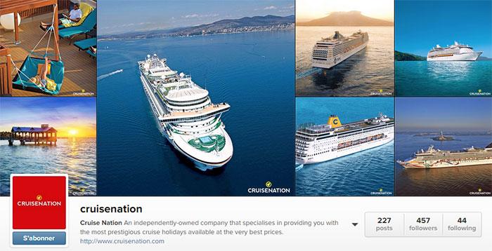 Cruise Nation : compte Instagram d'une agence de voyage