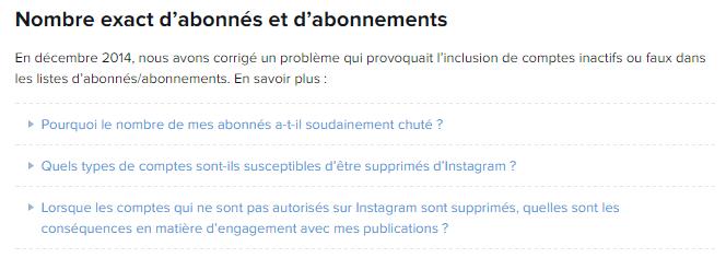 Instagram a supprimé des comptes inactifs / faux comptes des listes d'abonnés/abonnements.