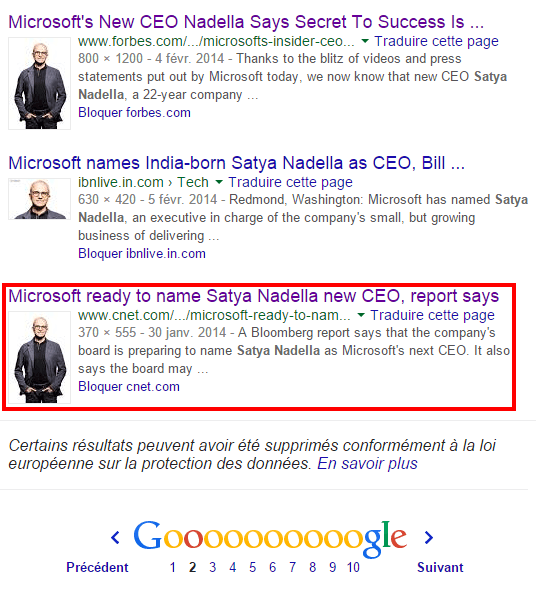 Recherche Google photo de Satya Nadella, PDG de Microsoft