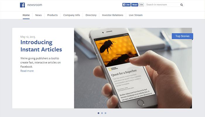 Site WordPress de Facebook Newsroom