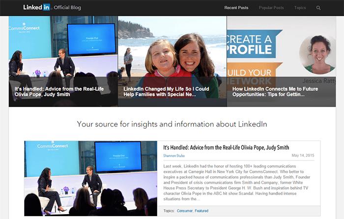 Le blog de LinkedIn est créé sous WordPress