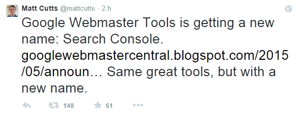 Matt Cutts tweete Google Search Console
