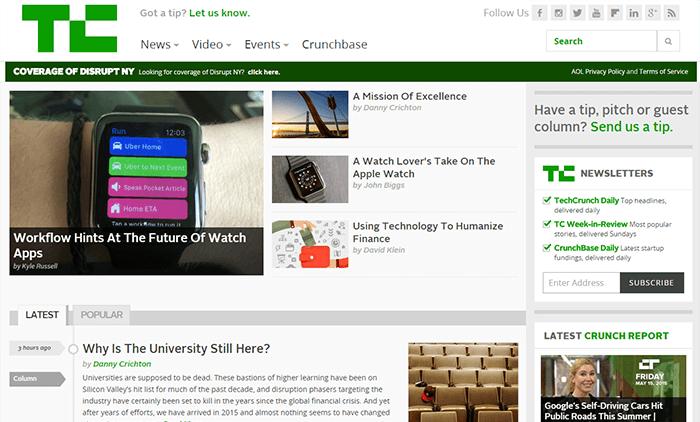 Site WordPress de TechCrunch