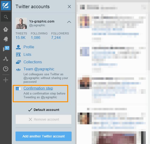 Option de confirmation dans TweetDeck