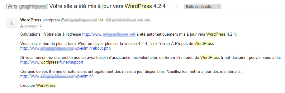 E-mail mise à jour automatique WordPress