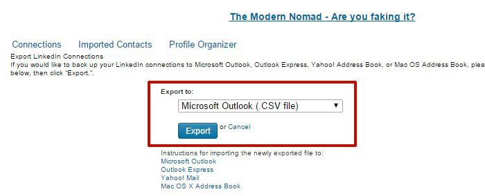 Exporter le fichier des contacts LinkedIn en fichier Microsoft Outlook CSV