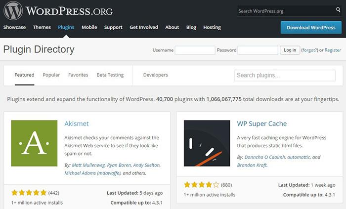 WordPress Plugins dans WordPress.org