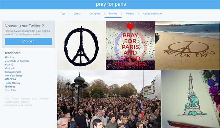Pray For Paris dans les résultats de recherche de Photos de Twitter