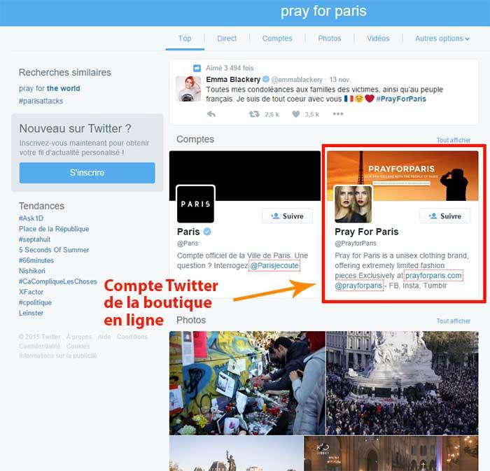 Pray For Paris dans les résultats de recherche de Twitter