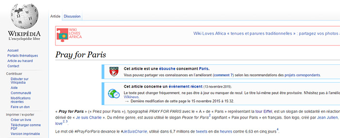 Pray For Paris dans Wikipedia
