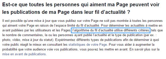 Algorithme dans Facebook
