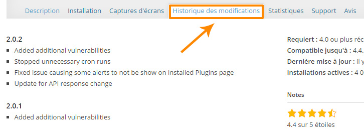 Historique des modifications du plugin WordPress
