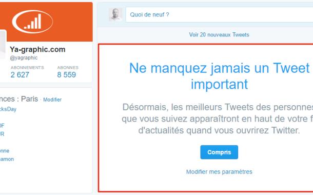 L'algorithme de Twitter est actif par défaut pour tous les utilisateurs
