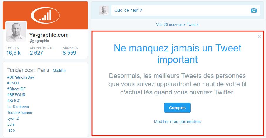 Algorithme de Twitter par défaut pour tous les utilisateurs.