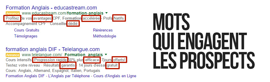Des mots engageants - AdWords
