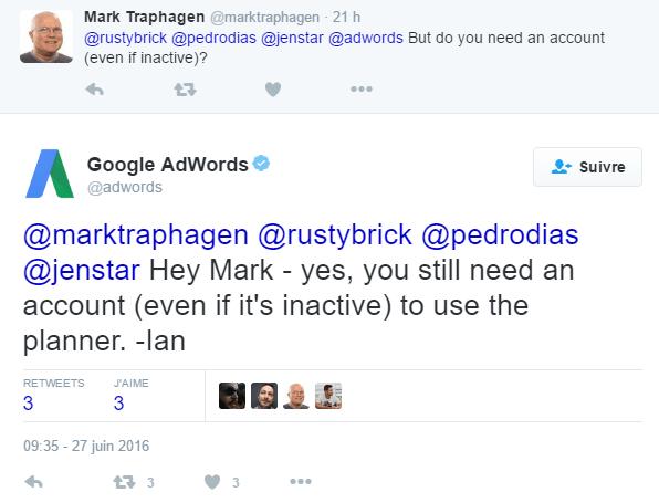 Il faut toujours avoir un compte pour utiliser Keyword Planner