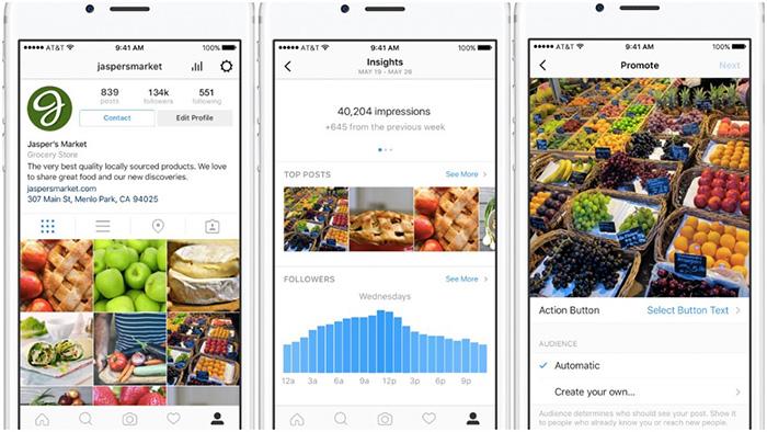 Outils pour les profils d'entreprise sur Instagram