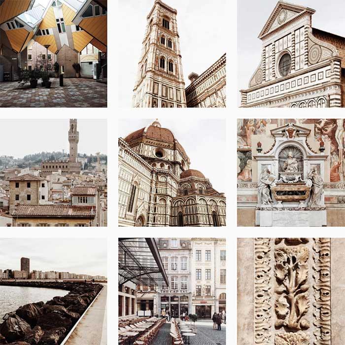 Galerie photo Instagram d'Andrea Anoni, architecte italien