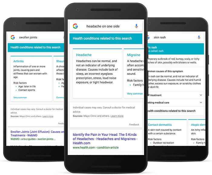 Google optimise la recherche mobile de symptômes et tacle les forums de santé