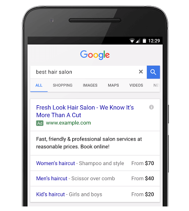 Extensions de prix dans les liens sponsorisés AdWords