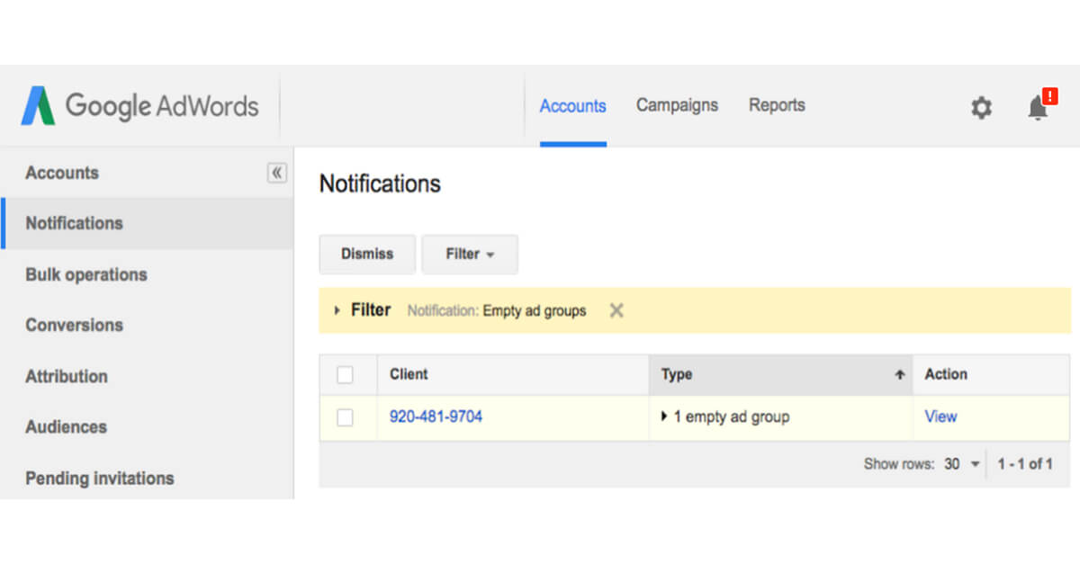 Notifications des Administrateurs de plusieurs comptes Google AdWords