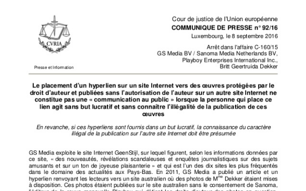 Droit d'auteur : L'illégalité d'un lien hypertexte vers un contenu illégal