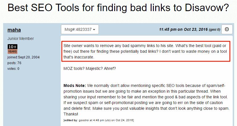 Aucun outil SEO ne peut identifier les mauvais backlinks d'un site