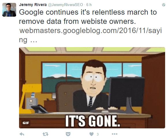 Réaction d'un consultant SEO dans Twitter suite à la suppression des Mots clés de contenu