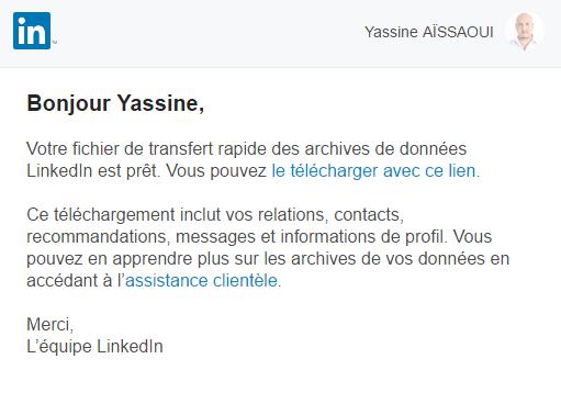 Archives LinkedIn à télécharger depuis l'e-mail