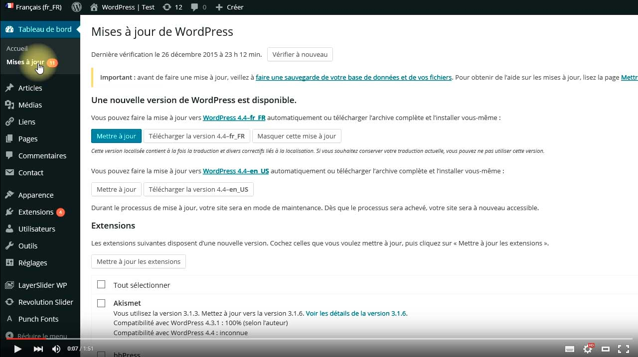 Mise à jour automatique de WordPress
