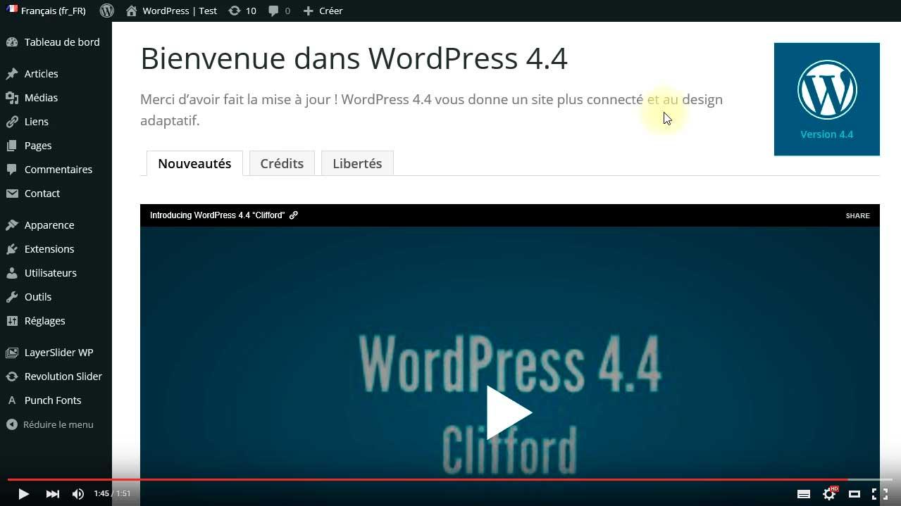 Mise à jour automatique WordPress effectuée