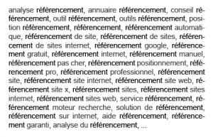 Exemple de Keyword stuffing pour se positionner sur « référencement »